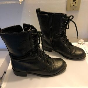 SODA Black Faux Leather Combat Boots Size 6.5